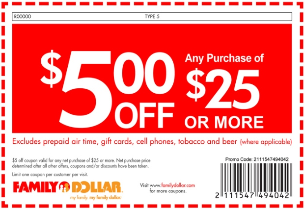 Printable Family Dollar Stores Coupon: $5 Off $25 Or More