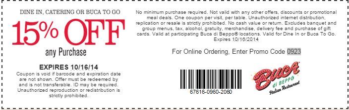 picture relating to Buca Di Beppo Printable Coupons identified as Printable Buca di Beppo Coupon: 15% off any acquire