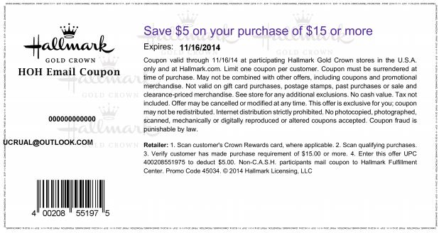 photograph regarding Hallmark Coupon Printable named Printable Hallmark Coupon: $5 off $15