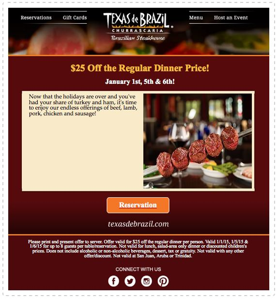 graphic about Texas De Brazil Printable Coupon titled Printable Coupon: Attain $25 off Every month