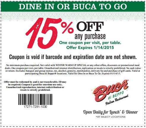 photograph relating to Buca Di Beppo Printable Coupons called Printable Buca di Beppo Coupon: 15% OFF any acquire
