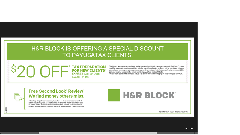 "H&R Block coupon codes offer discounts ranging from % off for their tax preparation software. Around tax season, there is more discount and rebates for their tax software. To redeem, enter the code in the ""have a coupon code"" box and click ""apply""."