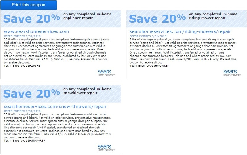 graphic regarding At Home Coupon Printable known as Printable Sears House Expert services Coupon: Help save 20% upon Any