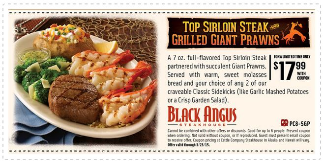 picture about Black Angus Printable Coupons identify Printable Black Angus Steakhouse Coupon: Final Sirloin Steak