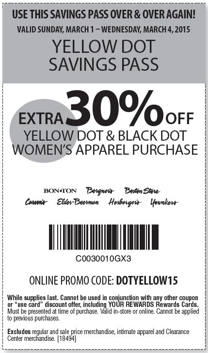 picture about Younkers Printable Coupons named Printable Younkers Coupon: Much more 30% Off yellow dot black