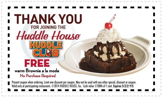 graphic about Huddle House Coupons Printable identified as Printable Coupon: Attain a Cost-free Brownie a la Method