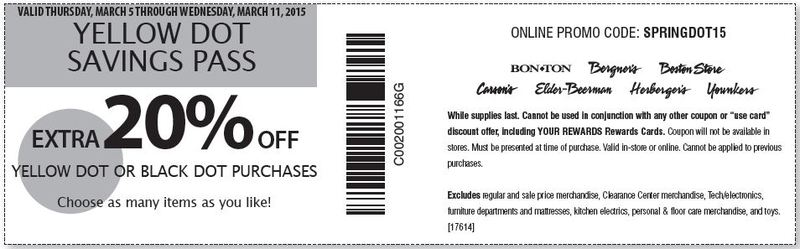 image about Younkers Printable Coupons identify Printable Younkers Coupon: Much more 20% Off Yellow Dot or Black