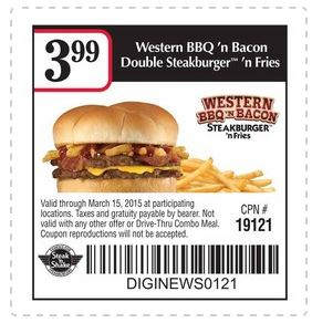 picture about Steak and Shake Coupons Printable known as Printable Coupon: Western BBQ n Bacon