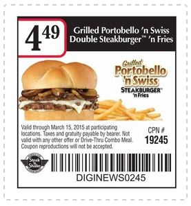 photograph relating to Steak and Shake Coupons Printable referred to as Printable Coupon: Grilled Portobello n