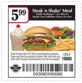 picture relating to Steak and Shake Coupons Printable called Printable Coupon: Steak n Shake Evening meal for