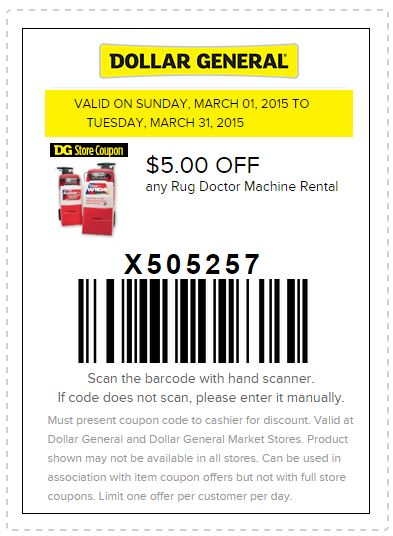 Printable Dollar General Coupon 5 Off Any Rug Doctor Machine Al