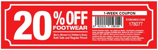 picture about Shoe Station Printable Coupon identified as Printable Coupon: conserve 20% off your invest in