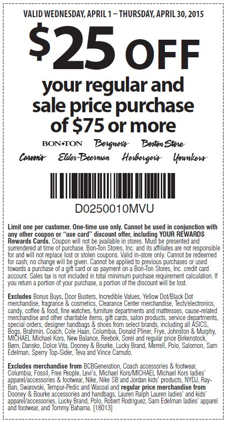 image relating to Boston Store Printable Coupons named Printable Boston Shop Coupon: $25 Off your monthly and sale