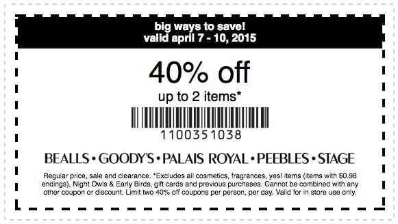 photo regarding Goodys Printable Coupons referred to as Printable Place Merchants Coupon: Obtain 40% off 2 merchandise