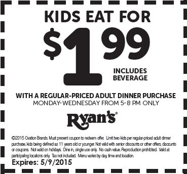 photograph about Ryans Printable Coupons titled Printable Coupon: Little ones Try to eat for $1.99