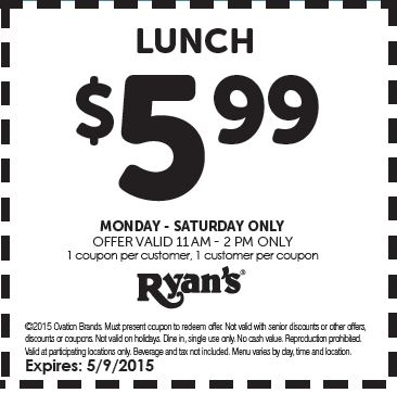 photo relating to Ryans Printable Coupons referred to as Printable Coupon: Obtain a Lunch for exactly $5.99