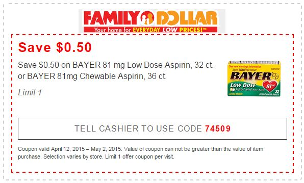 picture about Family Dollar Printable Application identify Printable Loved ones Greenback Retailers Coupon: 50 cents OFF BAYER