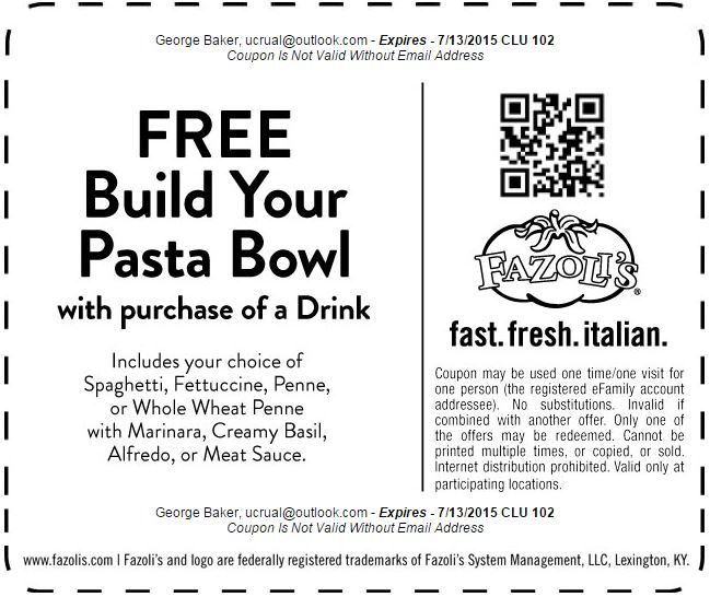 image relating to Fazoli's Printable Coupons identified as Printable Coupon: Absolutely free Produce Your Pasta Bowl