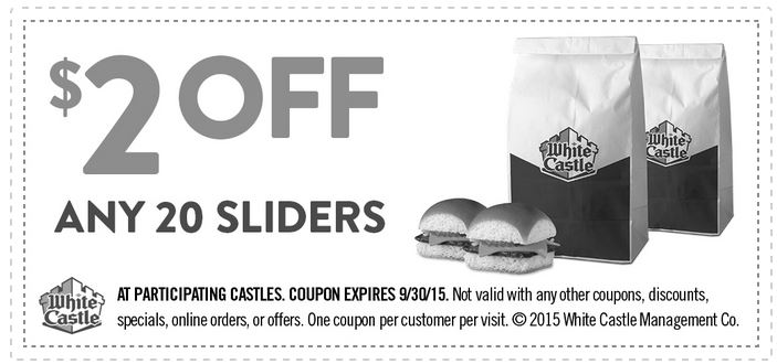 picture relating to White Castle Printable Coupons known as Printable Coupon: Consider $2 off any 20 Sliders