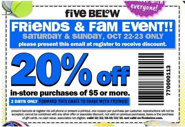 photo relating to Five Below Printable Coupons identify Printable Coupon: 20% Off buys of $5 or much more