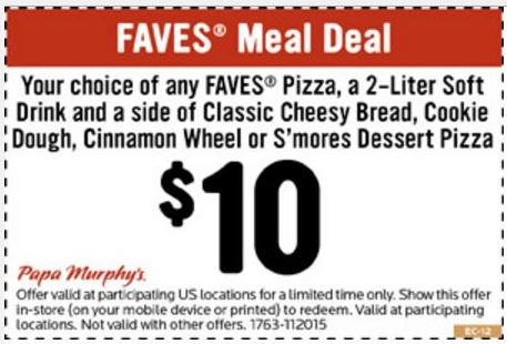 graphic about Printable Papa Murphys Coupons called Printable Coupon: Faves Supper Offer For $10