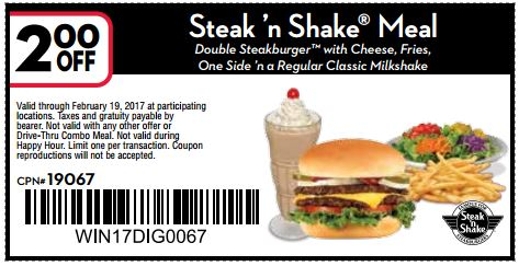 graphic relating to Steak and Shake Coupon Printable known as Printable Coupon: $2 off Steak n Shake Evening meal