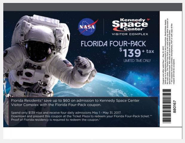 picture relating to Kennedy Space Center Printable Coupons named Printable Coupon: Up in direction of $60 off