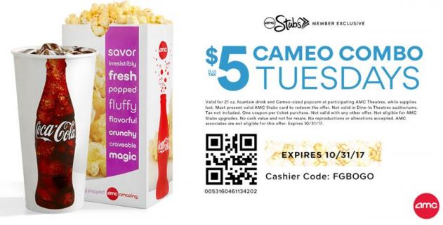 photo about Amc Printable Tickets named Printable AMC Coupon: $5 Ticket Tuesday and $5 Consume
