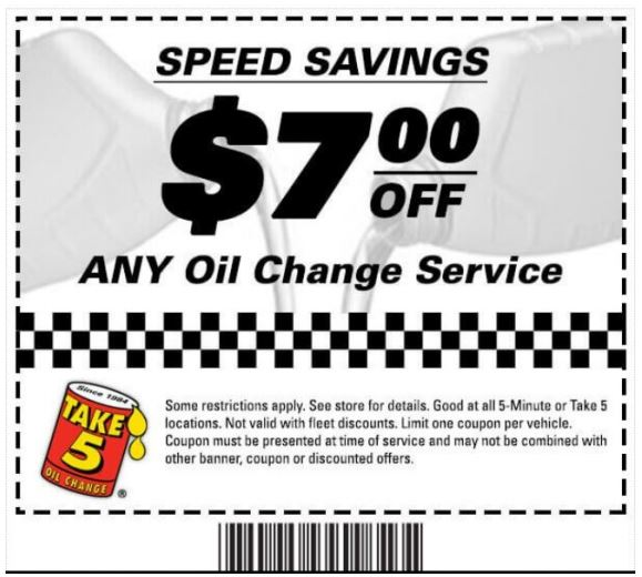 photo relating to Take 5 Oil Change Coupons Printable named Printable Coupon: $7 off any oil variation
