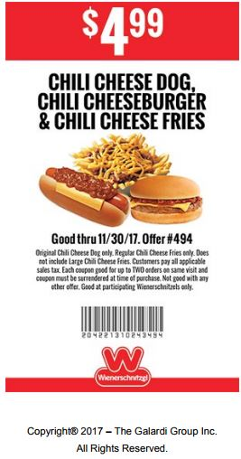 graphic about Printable Wienerschnitzel Coupons referred to as Printable Coupon: $4.99 Chili Cheese Canine