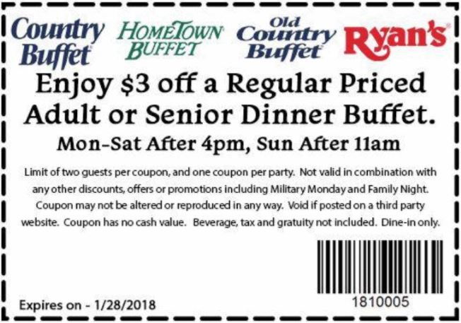 photograph regarding Ryans Printable Coupons known as Printable Coupon: $3 Off Evening meal Buffet
