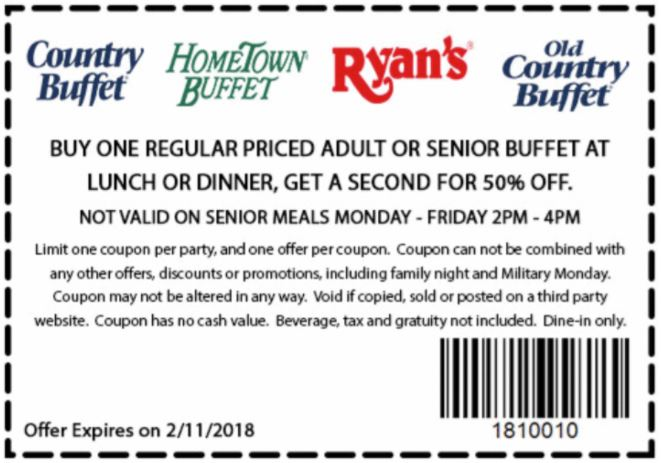 image about Old Country Buffet Printable Coupons Buy One Get One Free titled Printable Coupon: Obtain 1, Receive Just one 50