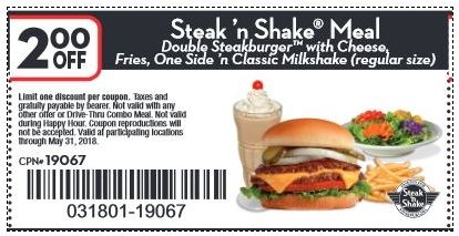photograph regarding Steak and Shake Coupons Printable referred to as Printable Coupon: $2 off Steak Shake evening meal