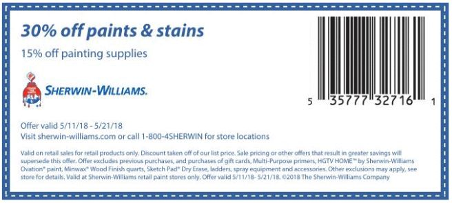 picture about Sherwin Williams Printable Coupon identified as Printable Coupon: 30% Off Paints