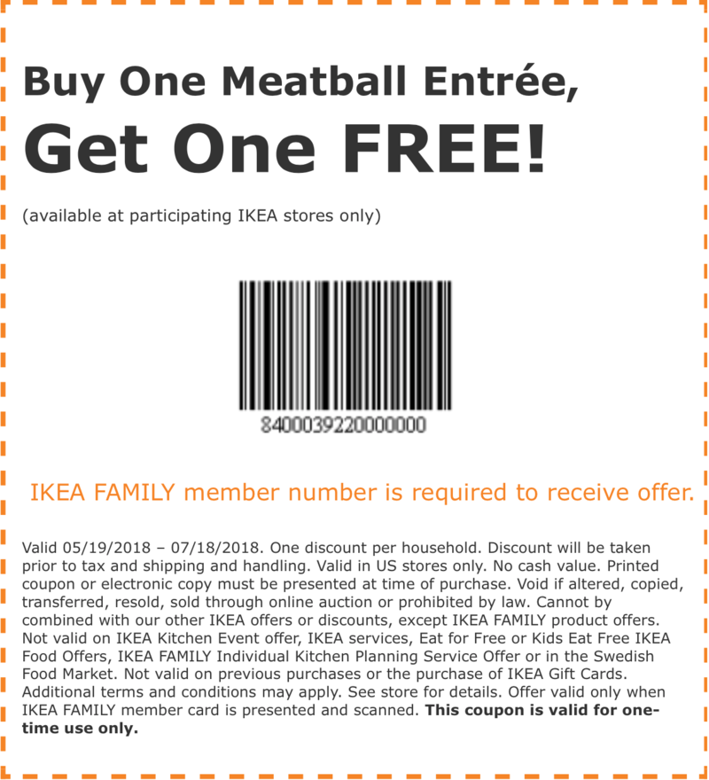 photo relating to Ikea Printable Coupon known as Printable Ikea Coupon: Order Just one Meatball Entree, Just take A single Cost-free!