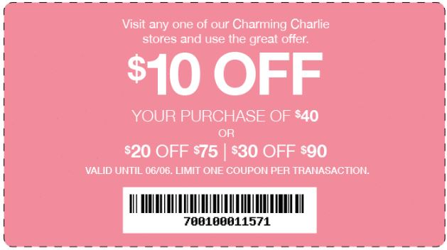 Printable Charming Charlie Coupon Up To 30 Off With Minimum Purchase