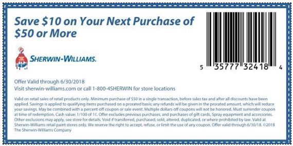 picture relating to Sherwin Williams Printable Coupon titled Printable Coupon: $10 Off your following