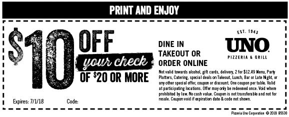 picture relating to Unos Coupons Printable referred to as Printable Coupon: $10 Off $20+