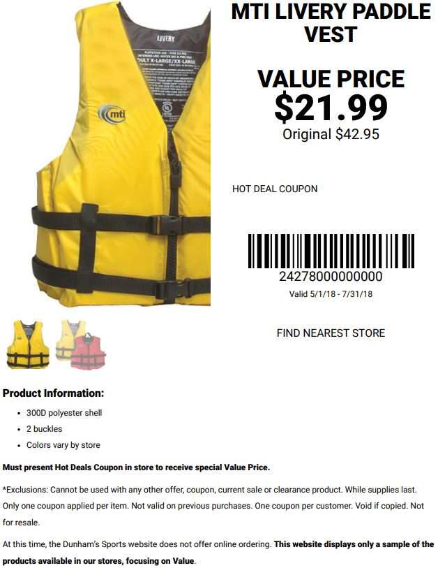 photograph about Dunhams Coupons Printable referred to as Printable Dunhams Sports activities Coupon: 49% Off Mti Livery Paddle Vest