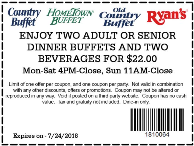 image relating to Ryans Printable Coupons named Printable Coupon: 2 Grownup Or Senior Supper Buffets