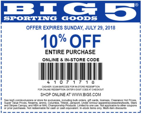 graphic about Big 5 Printable Coupon known as Printable Huge 5 Putting on Solutions Coupon: 10% Off Finish Invest in