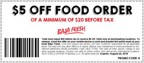 photograph regarding Baja Fresh Coupons Printable titled Printable Baja Clean Coupon: $5 Off Meals Buy of a minimum amount