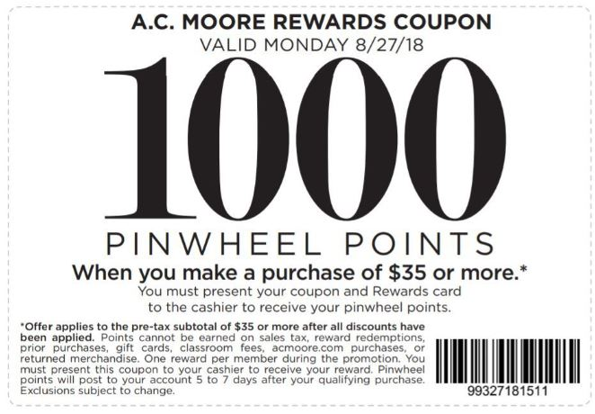 Printable A C  Moore Coupon: 1000 Pinwheel Points With $35