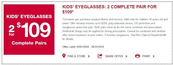 06a8ce986d Printable BJs Coupon  Kid s eyeglasses  2 complete pair purchase for only   109