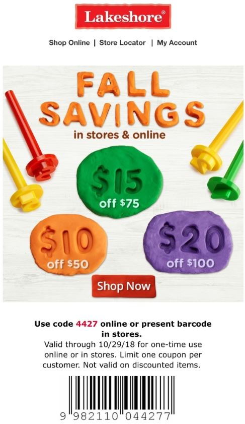 graphic relating to Lakeshore Learning Printable Coupons identified as Printable Coupon: Up Toward $20 Off With