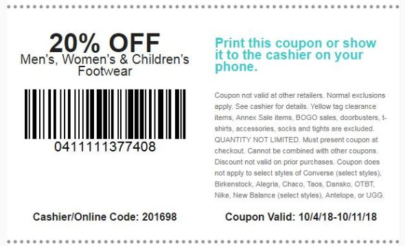 photo relating to Shoe Station Printable Coupon referred to as Printable Coupon: 20% off Mens, Womens
