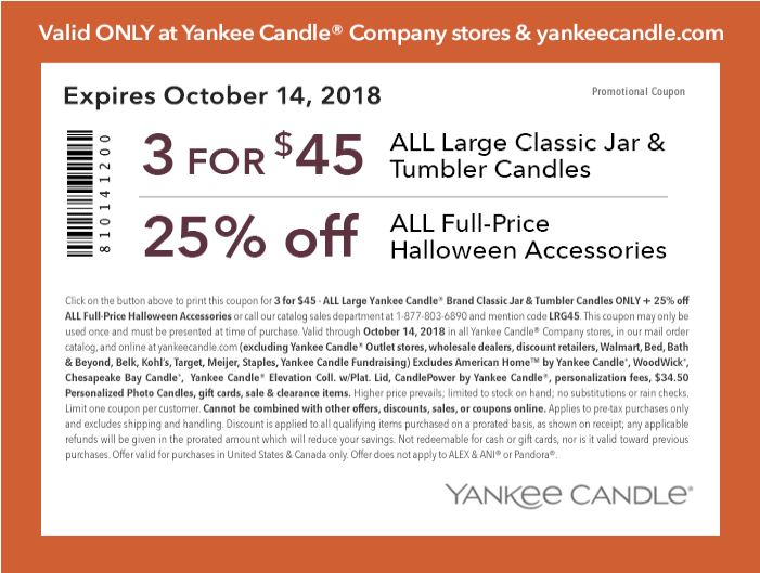graphic regarding Printable Yankee Candle Coupons named Printable Yankee Candle Coupon: 3 for $45 All Superior Clic