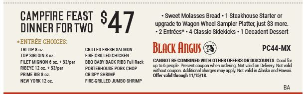 graphic relating to Black Angus Printable Coupons named Printable Black Angus Steakhouse Coupon: Campfire Feast