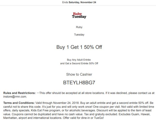 image regarding Ruby Tuesdays Coupons Printable referred to as Printable Ruby Tuesday Coupon: Order Any Grownup Entree and Buy