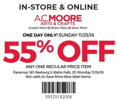 graphic regarding Ac Moore Printable Coupon known as Printable A.C. Moore Coupon: 55% Off Any Any Month-to-month Priced Products